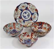 4 Japanese Imari Scalloped Ceramics