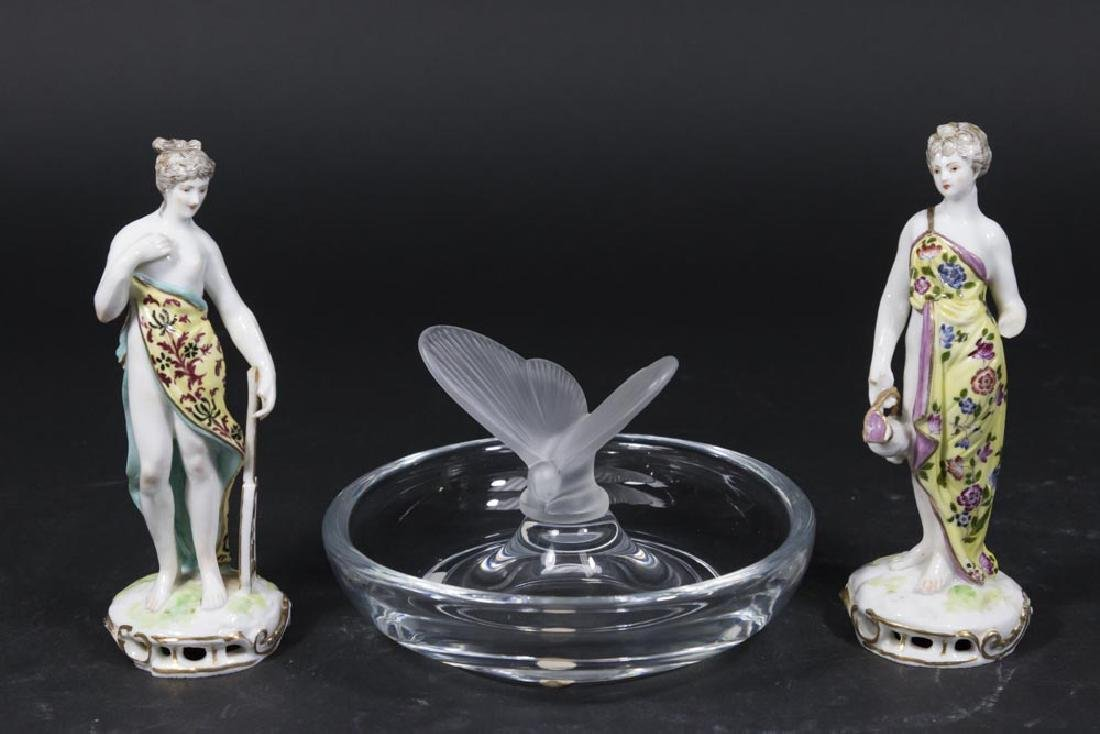Pair Old Berlin Figures & Sèvres GlassTray