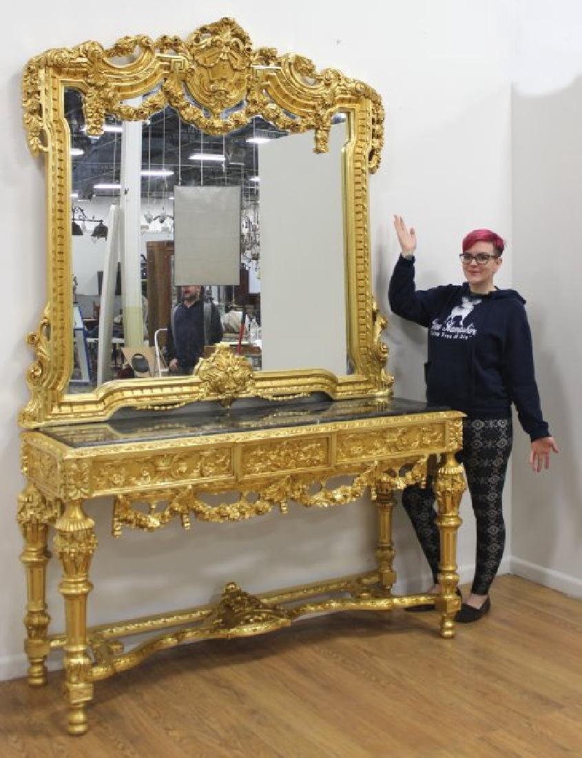 Palace Size Rococo Style Giltwood Console & Mirror