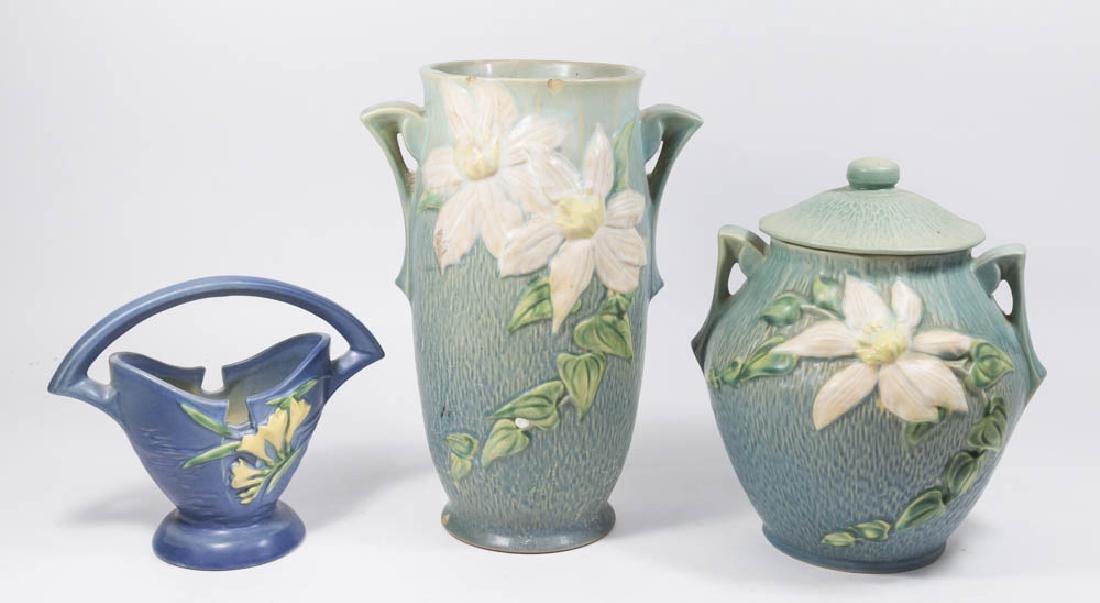 Roseville Cookie Jar, Basket and Vase