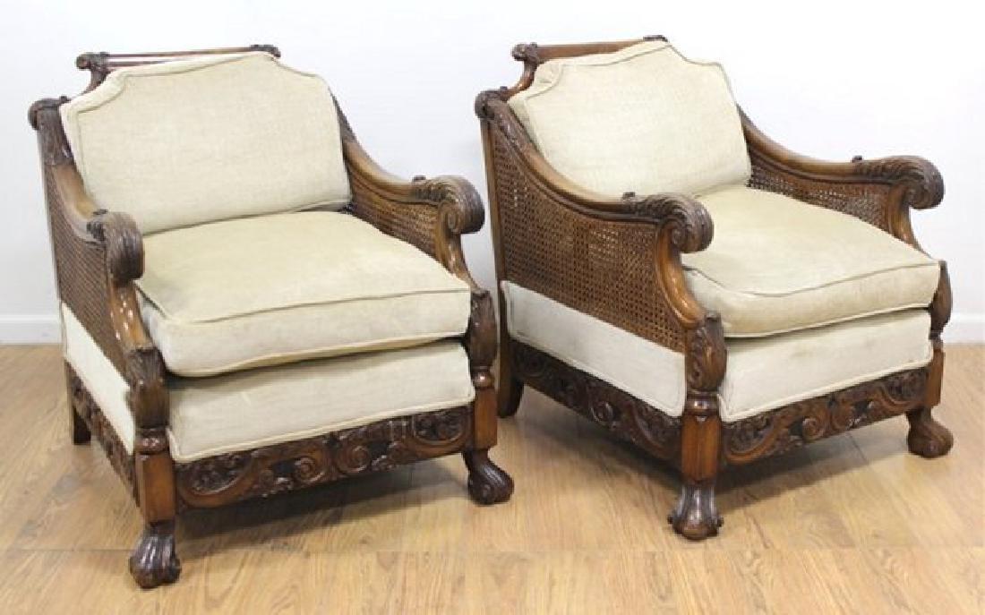 Pair European Carved Cane Chairs