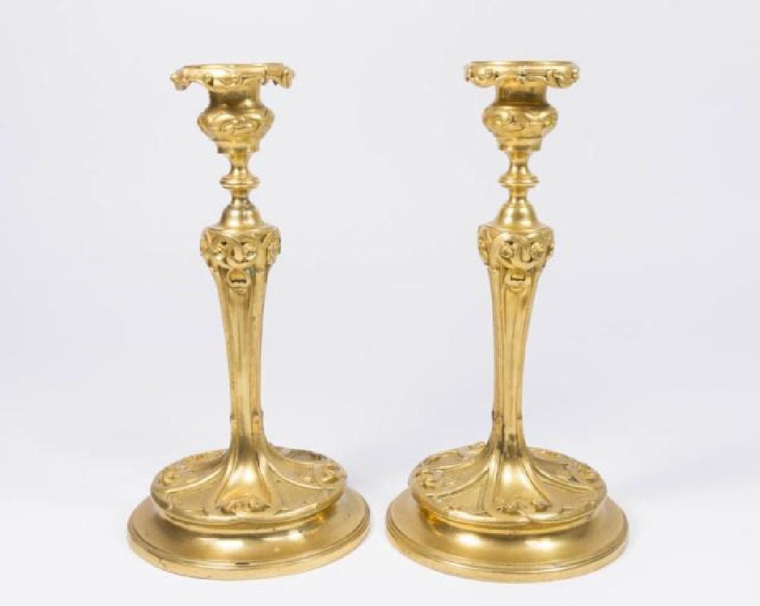 :Pair Gilt Bronze Candlesticks
