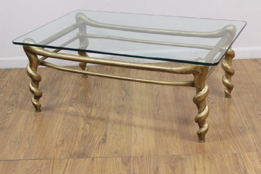 Rectangle Gilt Metal & Glass Coffee Table