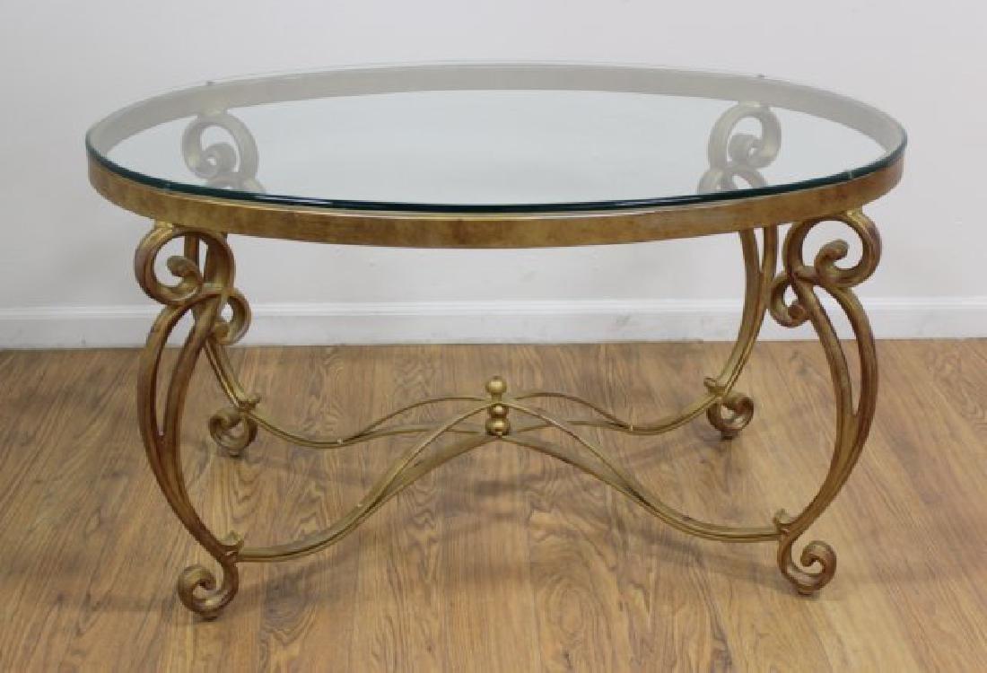 Oval Gilt Metal & Glass Top Coffee Table