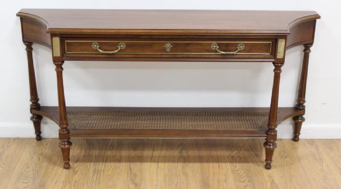Walnut Console Table with Cane Shelf