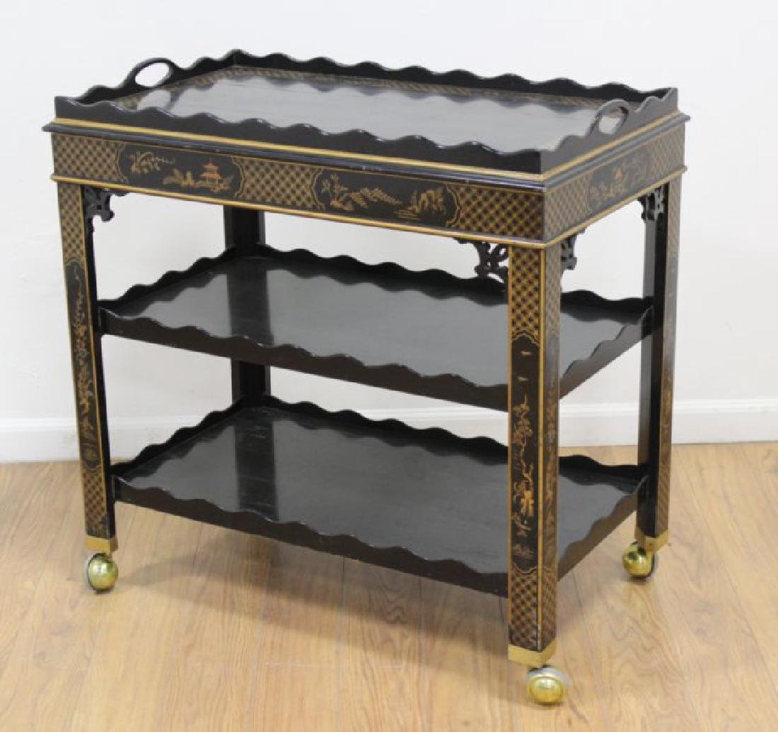 Chinoiserie Style Bar Cart with Removable Tray