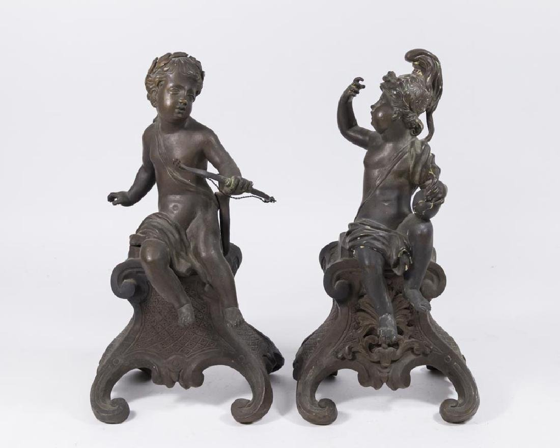 Pair Small Bronze Cupid Chenets