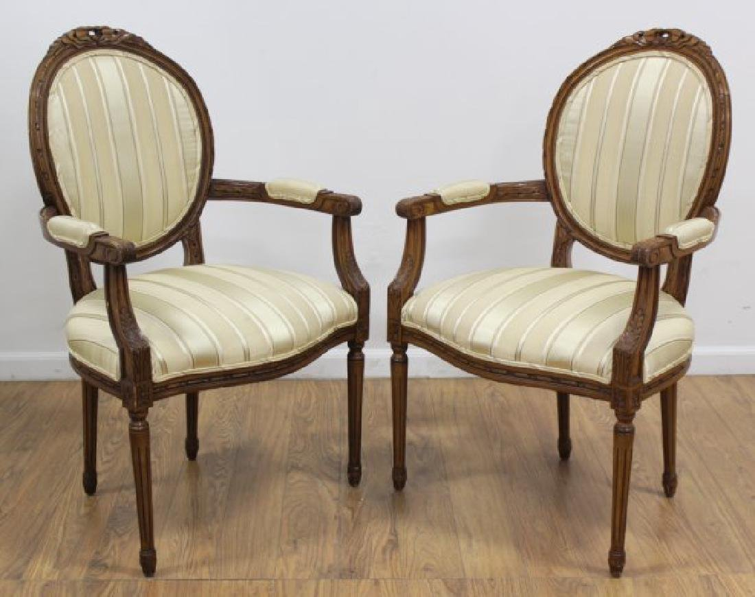 Pair Walnut Frame Louis XVI Fauteuils