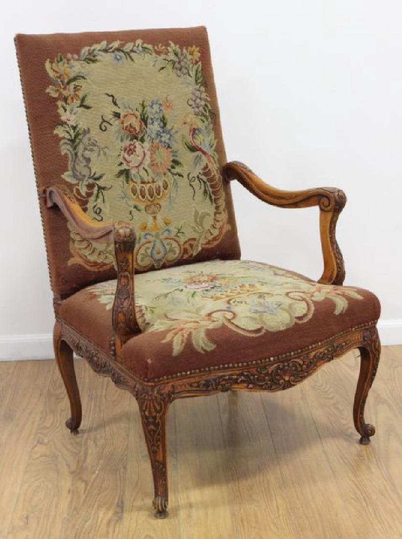 Louis XV Needlepoint Armchair with Carved Frame
