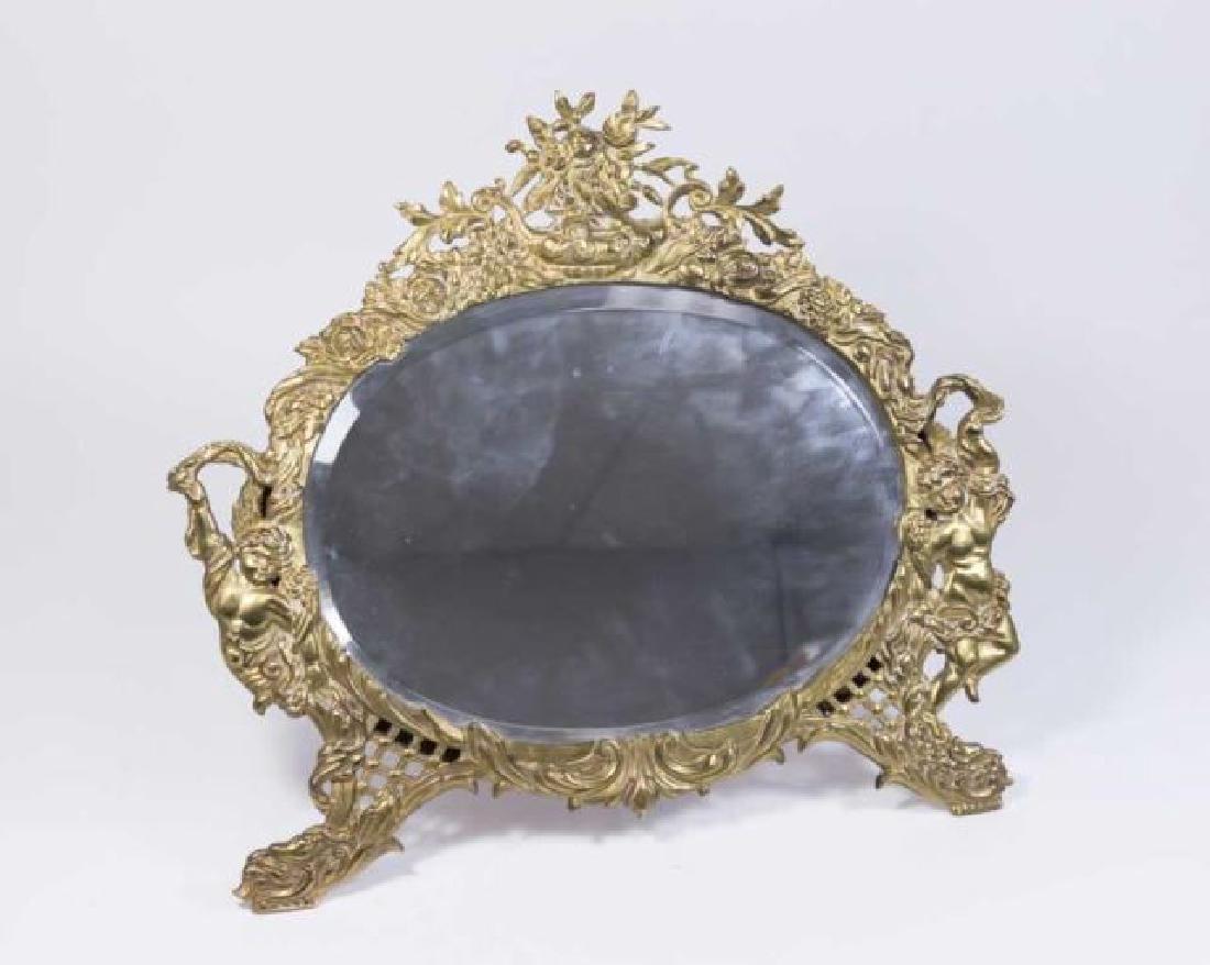 :Grape & Vine Figural Bronze Table Mirror