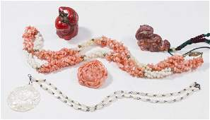 Group Lot Coral  Stone Jewelry