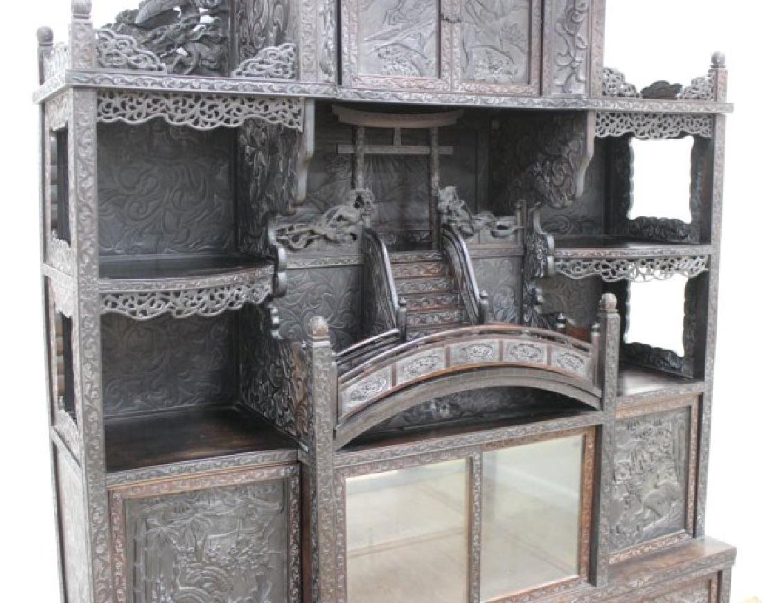 Heavily Carved Chinese Display Cabinet - 3