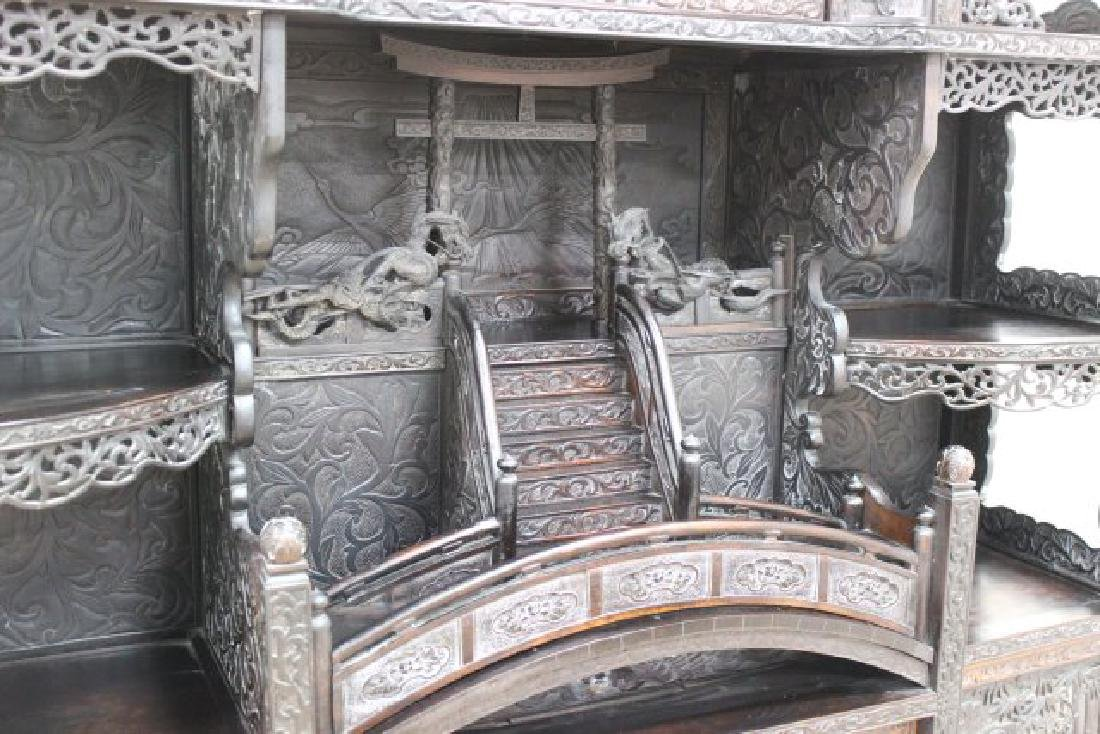 Heavily Carved Chinese Display Cabinet - 4