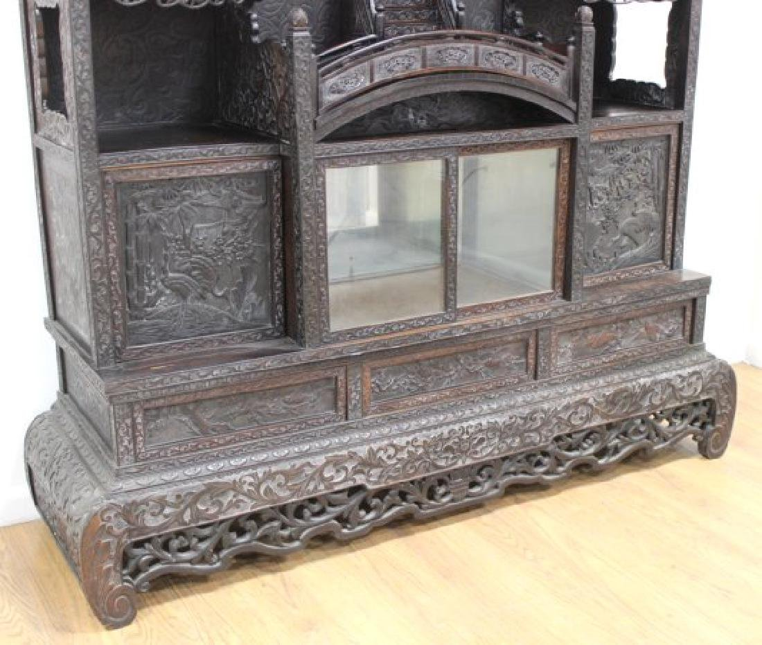Heavily Carved Chinese Display Cabinet - 6
