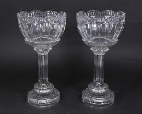 Pair Boudoir Crystal Glass Lamps