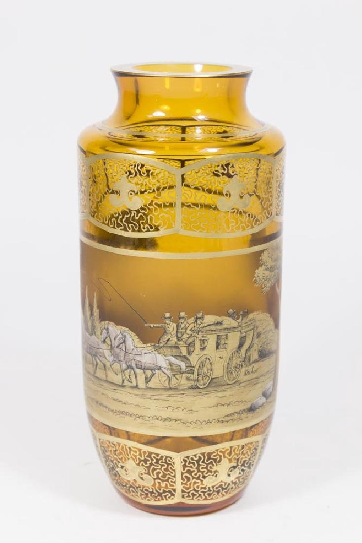 Amber Glass Art Deco Moser Decorated Vase
