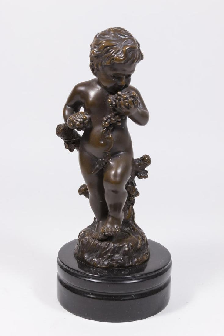 Contemporary Bronze Statue of Boy with Grapes