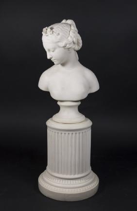 Parian Bust of Woman on Pedestal