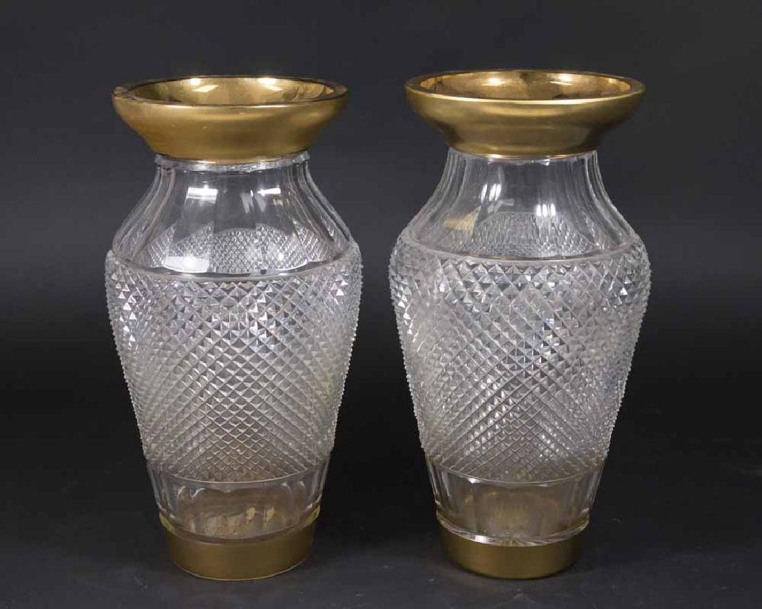 Pair Crystal Cut Vases with Gold Trim