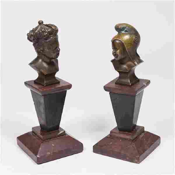 Pair Bronze Busts of Children