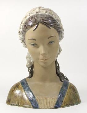 Lladro Gres Porcelain Lady Bust