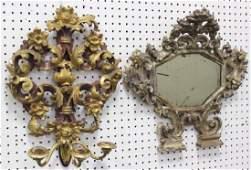 :Italian Carved Wood Mirror & Gilt Wood Sconce