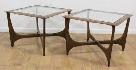 Pair Danish Style Lane Glass Top Modern Tables