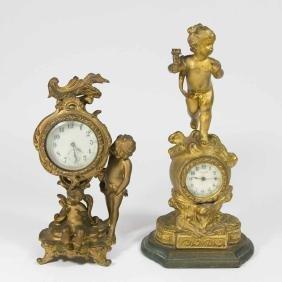 2 Gilt Metal Figural Clocks