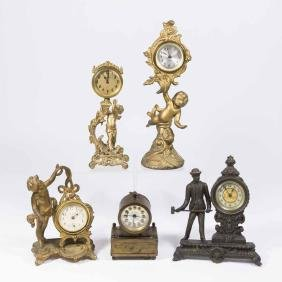Lot 5 Metal Clocks-3 with Cherubs