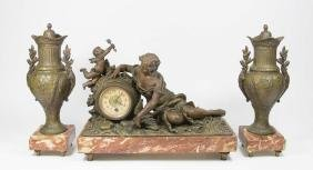 3-Piece Gilt Metal Clock Set