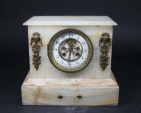 French Alabaster Mantel Clock