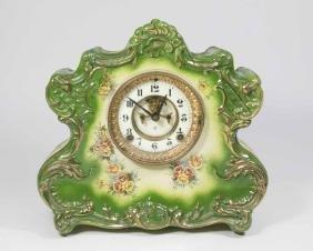 Unmarked Royal Bonn Ansonia Porcelain Mantel Clock