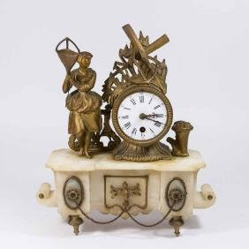 French Gilt Medal & Alabaster Figural Mantel Clock