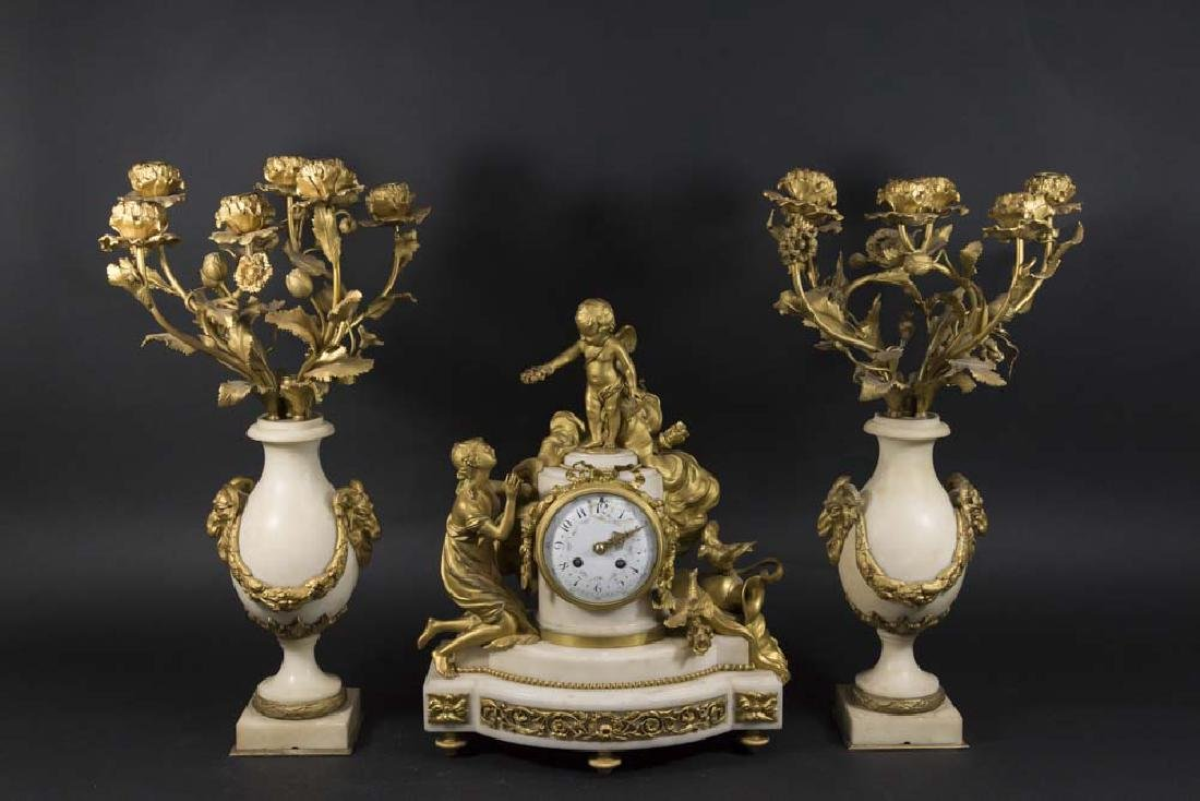 3-Piece Gilt Bronze & Marble French Clock Set