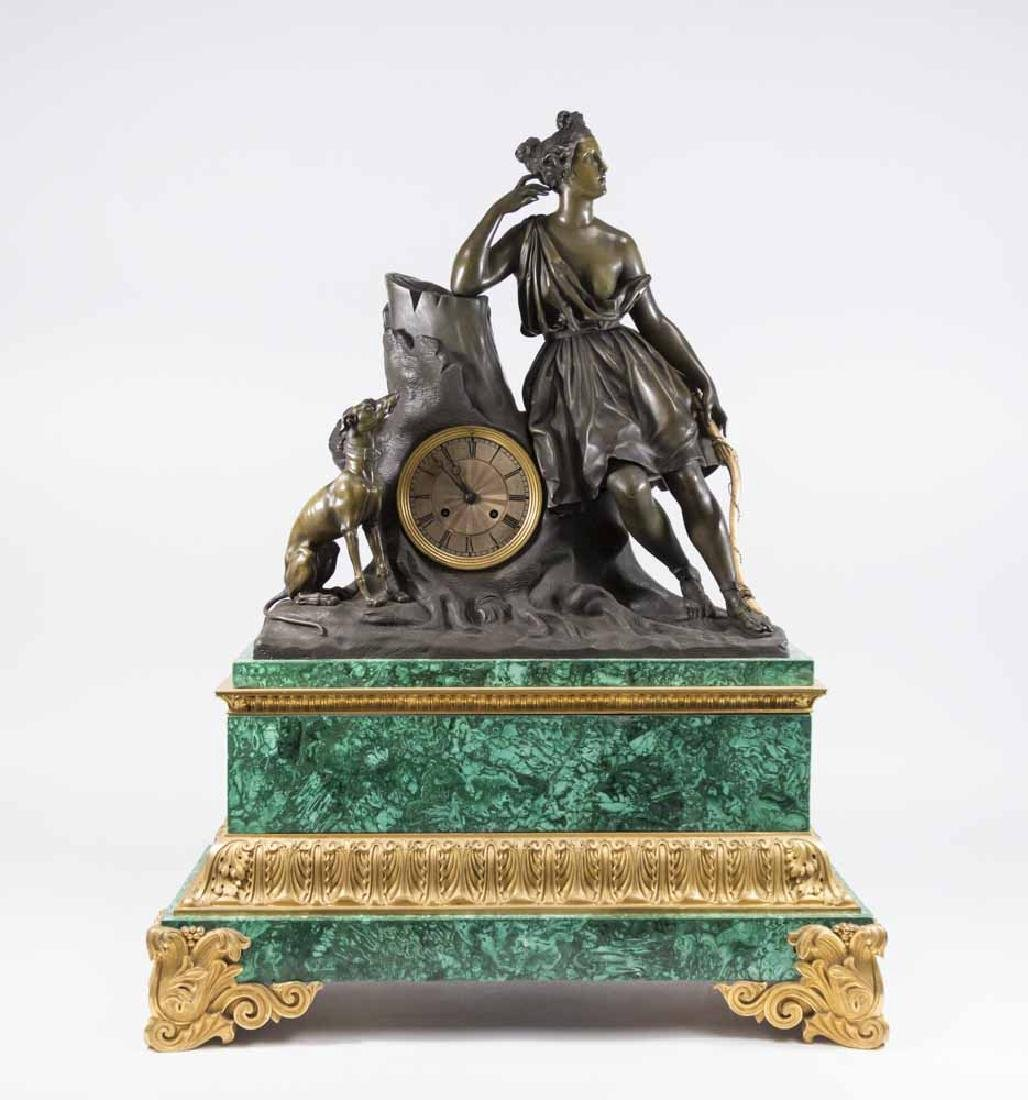Malachite & Bronze Figural Clock