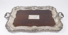 19th Century Russian Silver & Wood Tray
