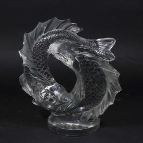 Lalique Double Koi Fish Art Glass Sculpture