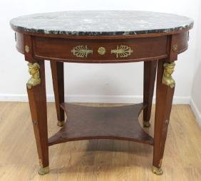 Empire Style Marble Top Figural Center Table