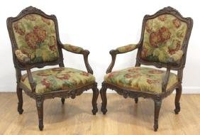 :Pair Louis XV Style Petit Point Open Arm Chairs