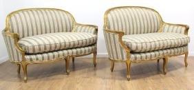 Pair Louis XV Style Giltwood Settees