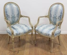 Pair George III Style White Painted Open Armchairs