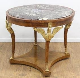 Empire Style Marble Top Center Swan Leg Table