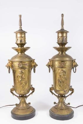 Pair Aesthetic Movement Gilt Bronze Lamps