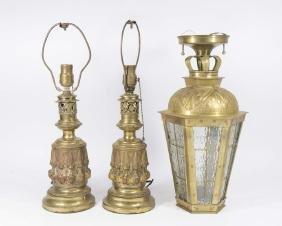 Pair Victorian Brass Oil Lamps & Lantern