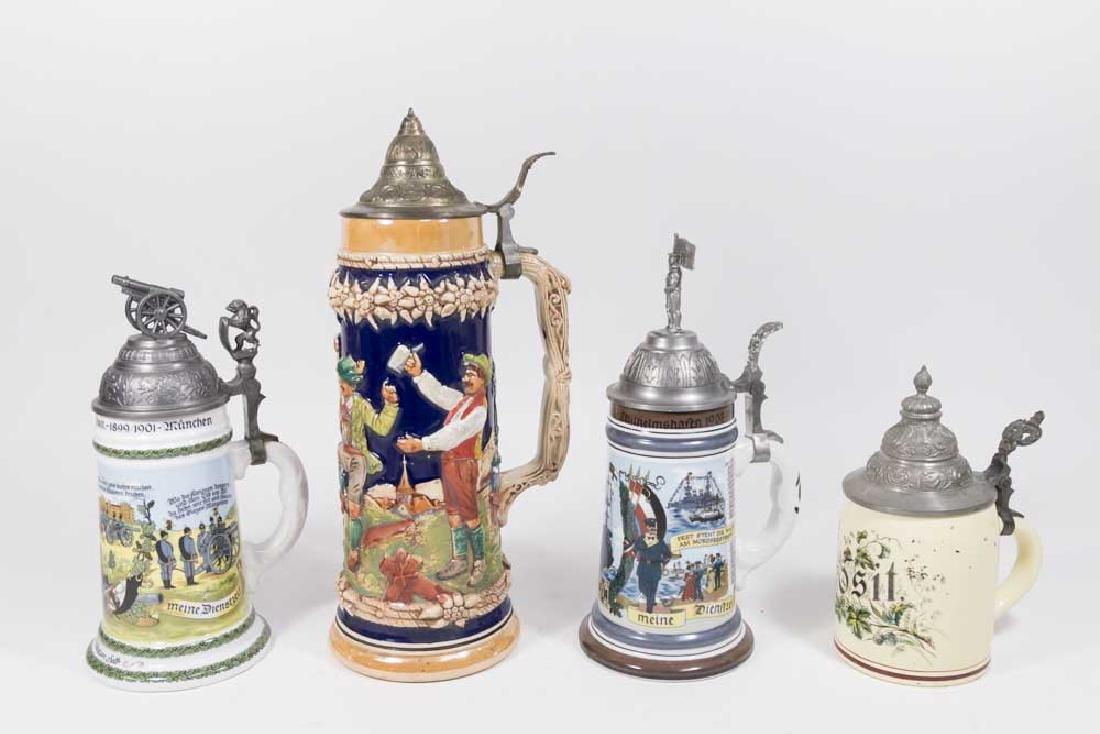 4 German Ceramic Steins