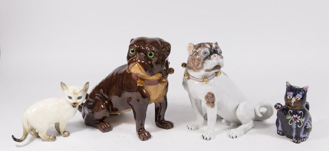 3 Porcelain & 1 Cloisonné Animal Figures
