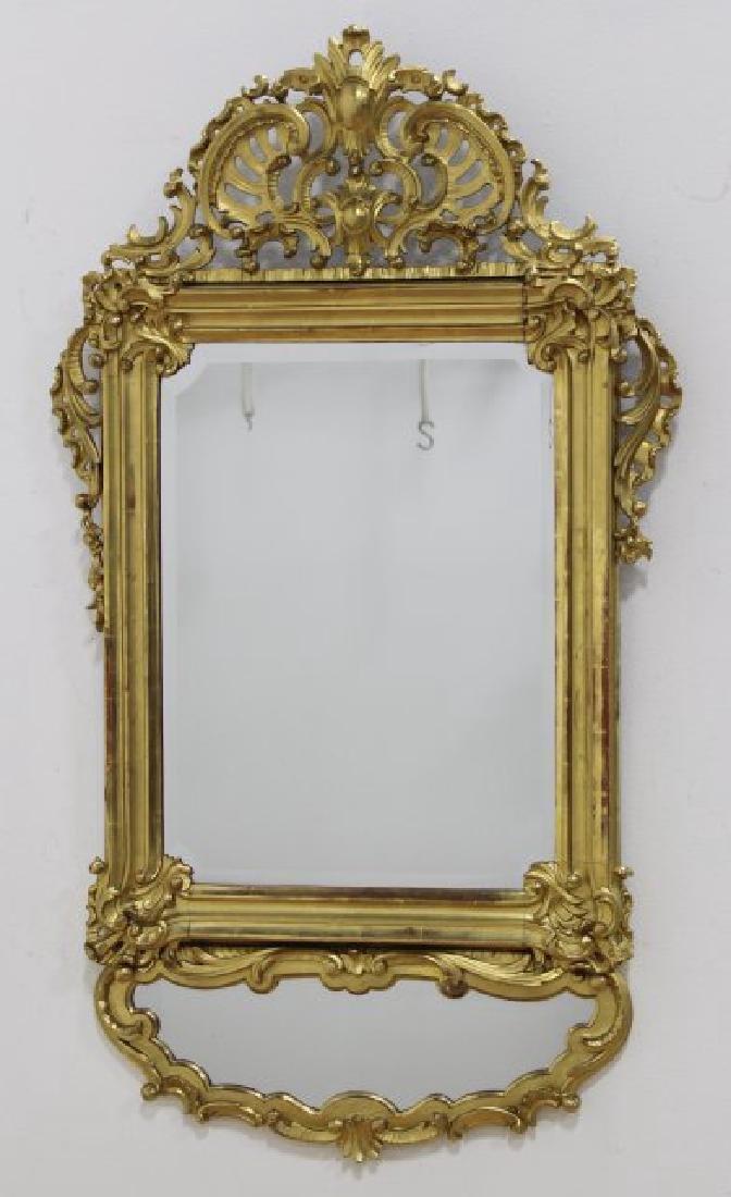 Gilt Carved 2-Part Bevelled Mirror