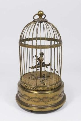 French Early 20th Century Brass Birdcage Automaton
