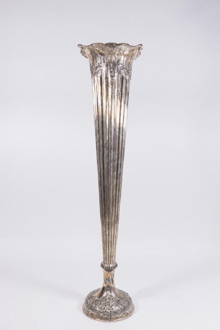 19th Century Continental Silverplate Trumpet Vase