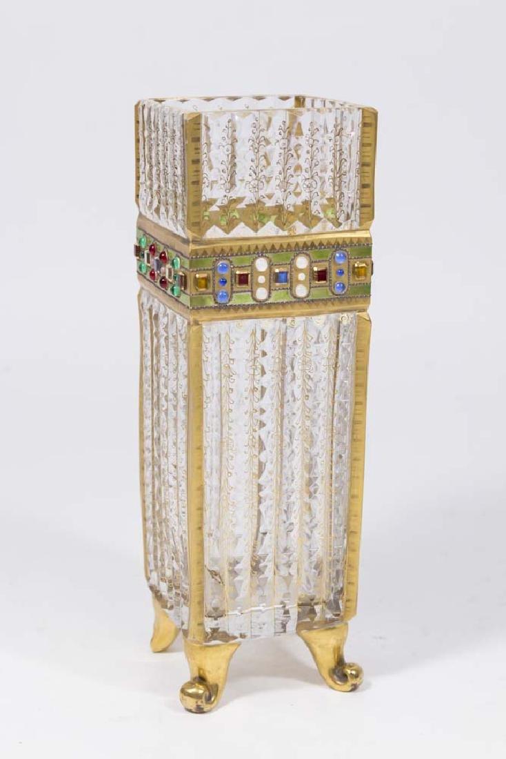Arts & Crafts Parcel-Gilt Jewelled Cut Glass Vase